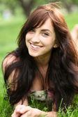 Portrait of the beautiful cheerful girl heaving fun — Stock Photo