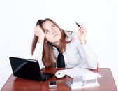 Attentive businesswoman dreaming — Stock Photo