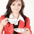 Stock Photo: Beautiful brunette lady drinking bracing coffee