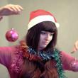 Beautiful brunette woman with christmas ball — Stock Photo