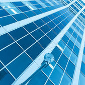 Textura rayada azul de la arquitectura de cristal — Foto de Stock