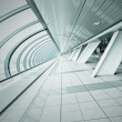 Wide spacious corridor in contemporary airport walkway — Stock Photo