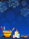 Fireworks background with crackers, candles and diya — Stock Photo