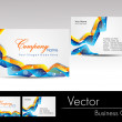 Stock Vector: Multicolor wave concept business card, vector illustration