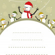 Vector Christmas template with collection of snowman - Векторная иллюстрация