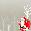 Vector merry christmas background with santa holding gifts bag — Stock Vector #6997267