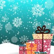 Snowflakes background with gifts vector for new year & christmas - Stock vektor