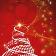 Christmas tree illustration on abstract concept red background — 图库矢量图片