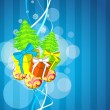 Merry christmas illustration with tree, gift and decorated balls - Stock vektor