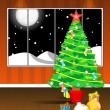 Room concept background with decorated tree, ball and gifts - Stock vektor