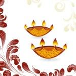 Elegant floral and diya concept greeting card for deepawali — Stock Vector