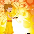 Girl holding burning diya concept vector for deepawali - Stock Vector