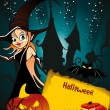 Royalty-Free Stock Vektorfiler: Halloween invite card with witch, pumpkin & owl