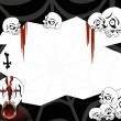 Halloween party invitation card with skulls — Imagen vectorial