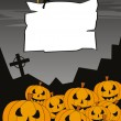 Постер, плакат: A grinning crowd of Jack O Lantern background wiht halloween ban