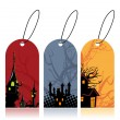 Vector set of colorful halloween tags — Stock Vector