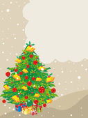 Vector christmas background with decorated tree and gifts — Stock Vector