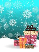 Snowflakes background with gifts vector for new year & christmas — Vetorial Stock