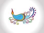 Beautiful artistic diya for diwali — Stock Vector