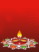 Rangoli decorated with lit diyas on diwali celebration — Stock Vector