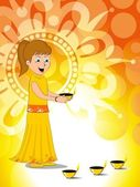 Girl holding burning diya concept vector for deepawali — Stock Vector