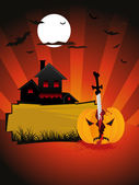 Halloween card with pumpkin. house — Stock Vector