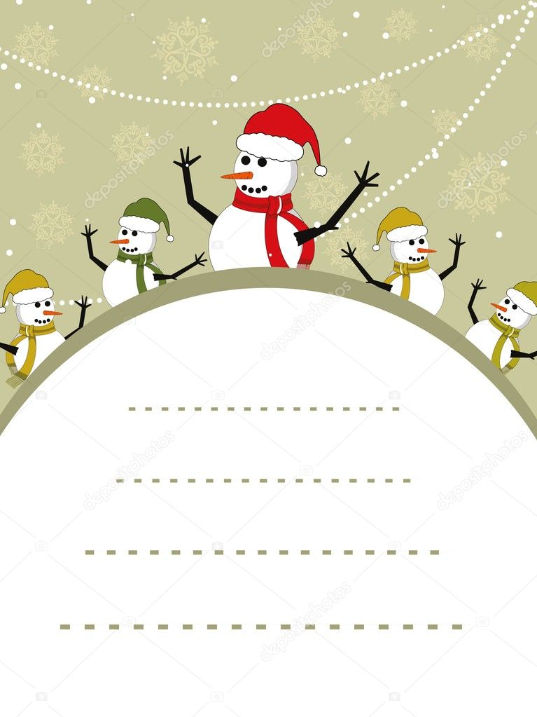 Vector Christmas snowflakes background with snowman and place for your text  — Stock Vector #6997233