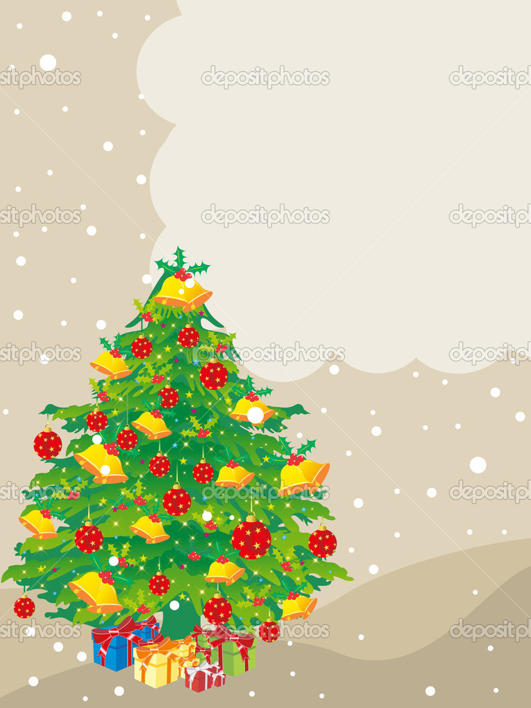 Background with decorated christmas tree with colorful gifts concept vector for xmas celebration — Stock Vector #6997246