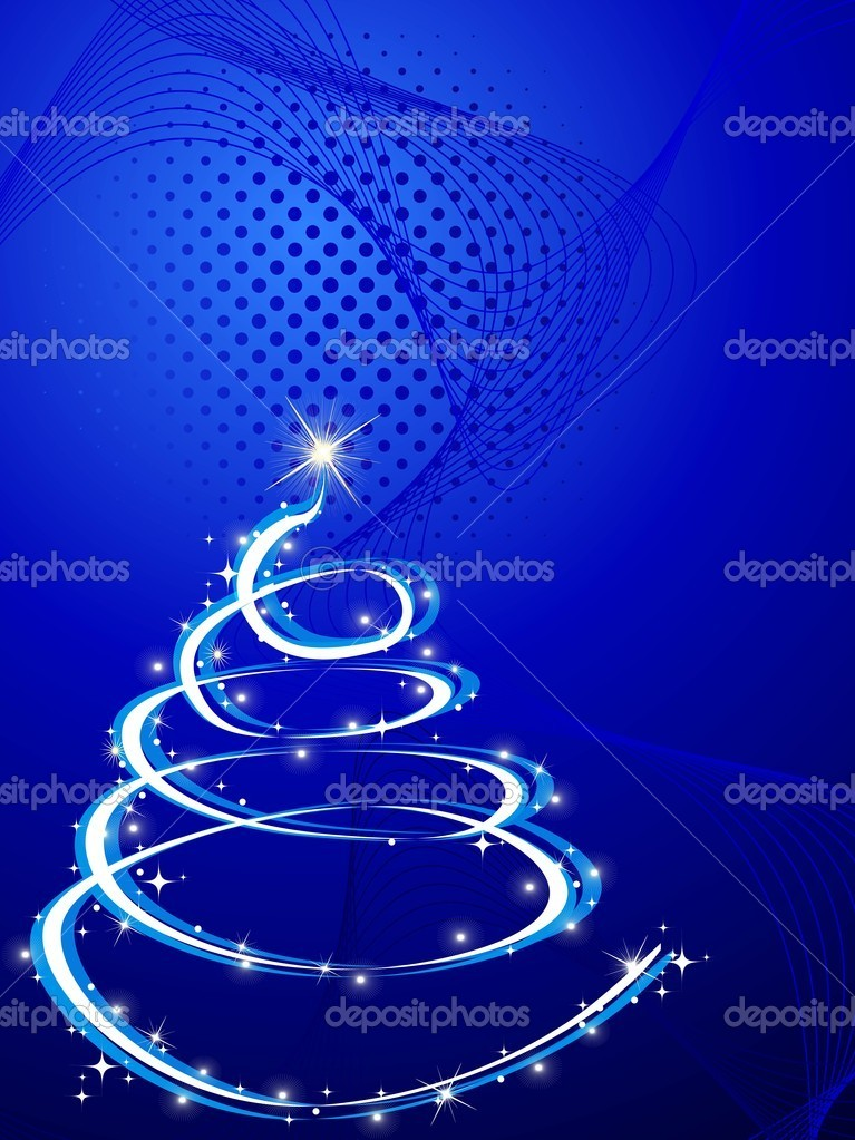 Abstract blue wave, dotted background with isolated christmas tree concept for merry xmas — Stock Vector #6997251