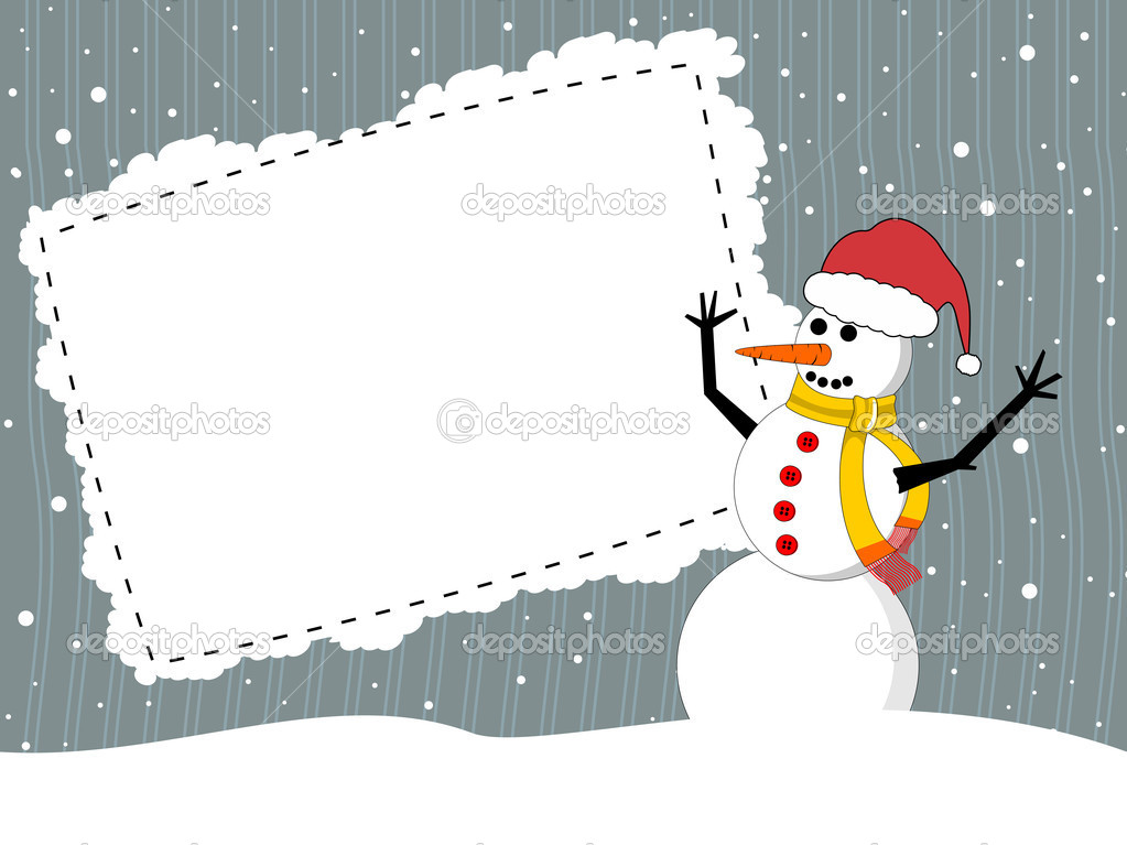 Vector white snowflakes Christmas background with snowman and place for your text   Stock Vector #6997255