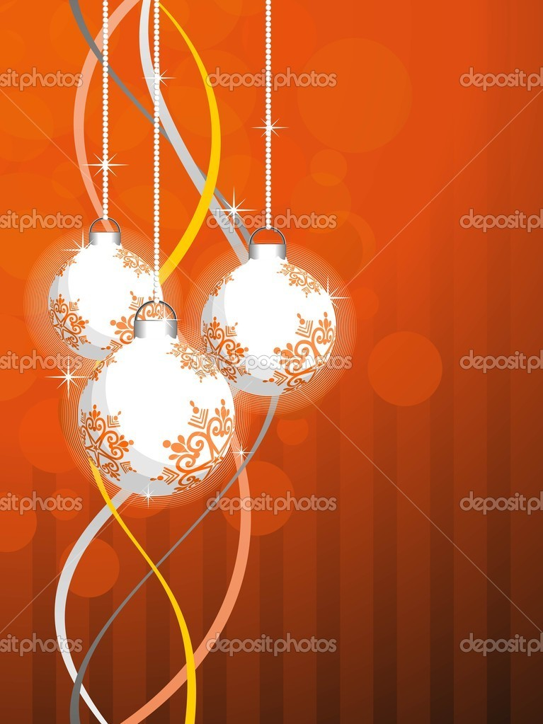 Abstract colorful stripes, bubbles background with hanging decorated balls for new year & merry christmas celebration — Stock Vector #6997340