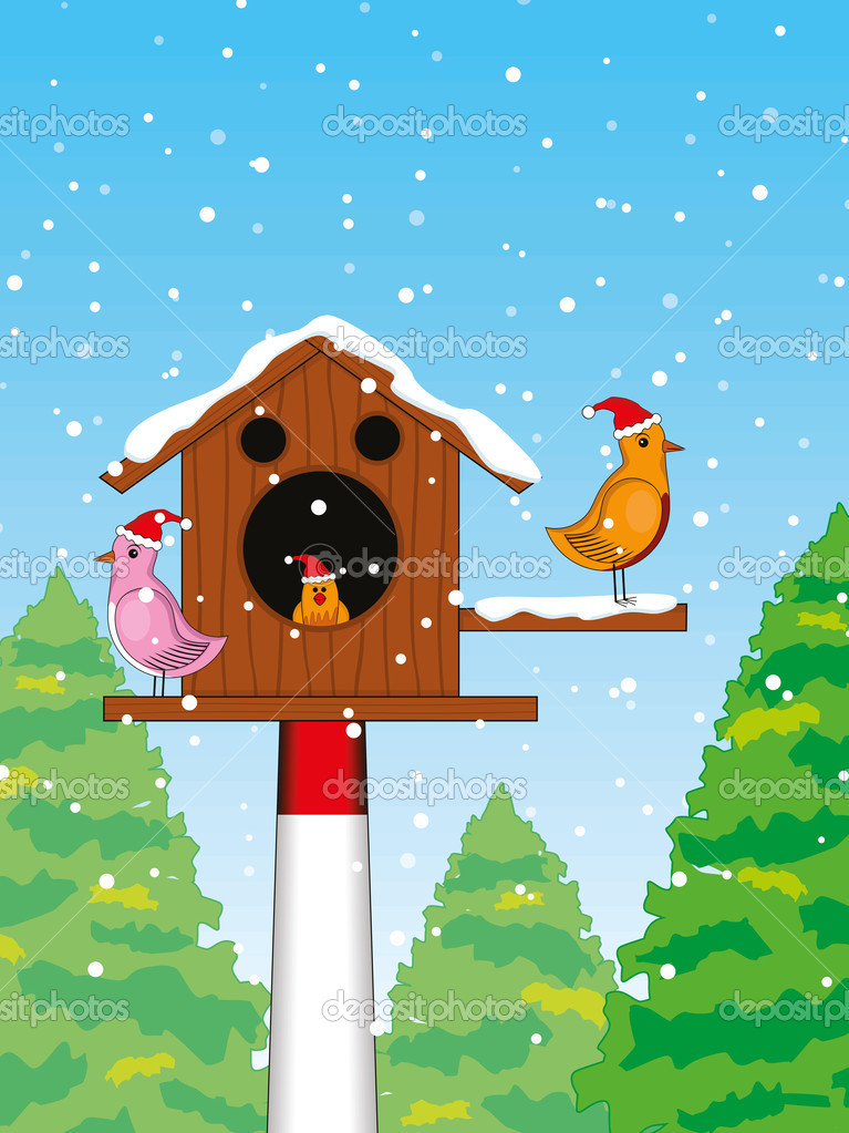 Abstract nature, snowflakes background with bird's in wood house concept for new year &  merry christmas — Stock Vector #6997343
