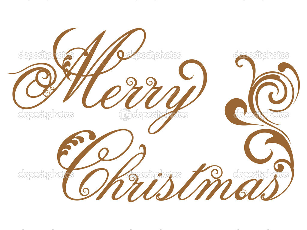 Vector elegant floral design merry christmas text on white background — Stock Vector #7024981