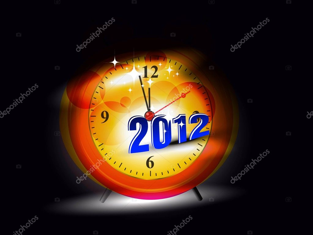 New Years card 2012 watch with fantastic abstract effect — Stock Vector #7024998