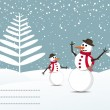 Snow background with snowman and space for text — Imagens vectoriais em stock