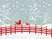 Birds sitting on fence with snow fall background — Stock Vector