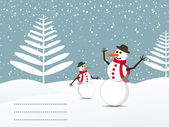 Snow background with snowman and space for text — Stock Vector