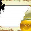 Grungy halloween banner with witch & pumpkin — Stock Vector