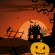 Spooky halloween composition — Vector de stock
