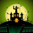 Stock Vector: Spooky house theme illustration for halloween