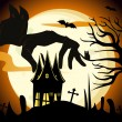 Stock Vector: Vector spooky scene vector for halloween