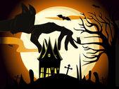 Vector spooky scene vector for halloween — Stock Vector