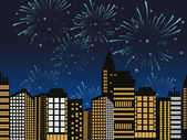 Vector cityscape fireworks — Stock Vector