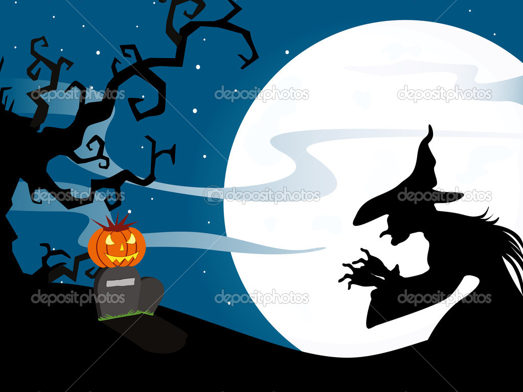 Twinkle star background with witch and pumpkin on gravestone  Stock Vector #7154767