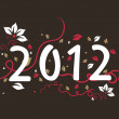 Floral design 2012 text, vector for new year — Stock Vector