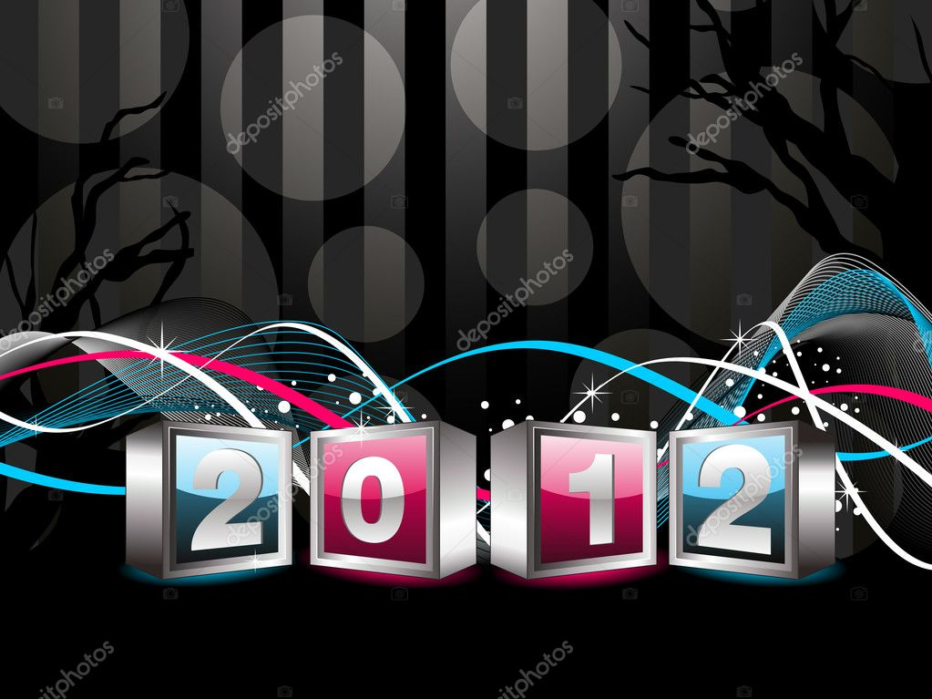 Abstract wave background with 2012 new year text in cubes vector for celebration  Stock Vector #7184604