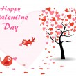 Vector valentine day background with love birds — Stock Vector #7213050