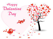 Vector valentine day background with love birds — Stock Vector