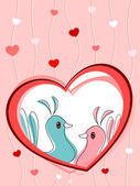 Love birds in heart vector — Stock Vector
