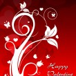 Red heart shape background with elegant floral — 图库矢量图片